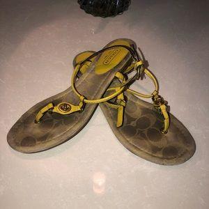 COACH yellow sandals